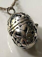 Vintage sterling silver filigree egg locket pendant & '925' chain necklace 9.92g