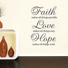 Faith Love Hope Quote Wall Decals Removable Vinyl Wall Stickers Size 57cmx86cm