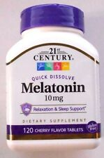 21st Century Melatonin Quick Dissolve Tablets Cherry, 10 mg, 120 Tabs, Exp 12-20