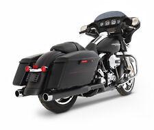 "Rinehart Black 3.5"" Xtreme True Duals Headers Chrome Tips Exhaust Harley Touring"