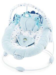 LADIDA Soft Light Blue Baby Dinosaur Bouncer Recliner, Music, Vibration, 696