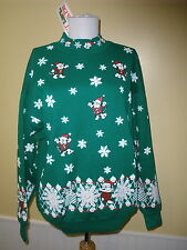 NEW Nutcracker vintage ugly Christmas sweatershirt  large green cats snowflakes