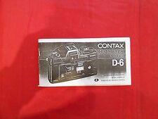 Bedienungsanleitung Contax D-6 Gebrauchsanleitung 8x17cm