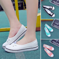 New Women's Canvas Shoes Pumps Slip On Size Ladies Casual Flat Lace Up Loafers