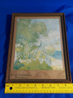 Dated 1925 Signed Art Print On The Colombia Magdalena EH Picture Frame Antique