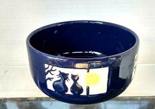 "Waechtersbach Germany Royal Blue Cats in Window 4.5"" x 2.5"" round Cat Bowl"