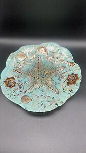 "STARFISH Iridescent Glass Plate Beach Ocean Nautical Teal And Brown 11"""