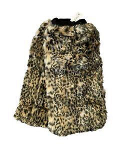 """LEOPARD FAUX FUR LEG WARMERS 16"""" KNEE HIGH BOOT COVERS SATIN LINED"""