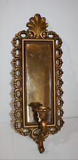 """Vintage Gold Wall Mirror with Candle Holder Homco Dart Ind 1972 Usa 7.5"""" x 20"""""""