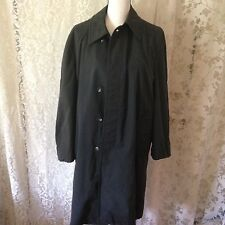 Vintage Smuggler Black Trench Coat Sz 38 S Lined Button Up Faded No Insert