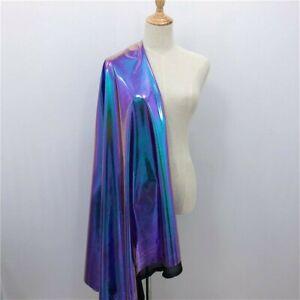 100cm Metallic Laser Stretch Fabric Purple Turquoise Holographic Material Craft