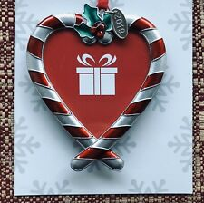 CHRISTMAS TREE ORNAMENT PHOTO PICTURE FRAME LOVE HEART STRIPED CANDY CANE 2019