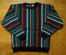 Vintage 90s Coogi Style Sweater Multicolor Stripes sz. L/Xl Oversized Biggie