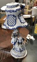 "Vtg 21"" Porcelain Figurine Electric Lamp- Blue & White- Boy With Violin & Girl"