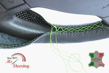 FOR IKCO ARISUN -BLACK PERF LEATHER STEERING WHEEL COVER GREEN STITCH