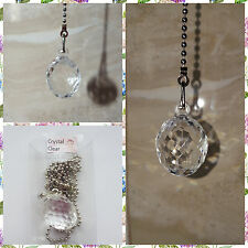 """OVAL"" Light pull switch fan bathroom chrome chain connector crystal look BNIB"