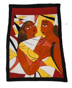 Batik Del Sri Lanka Pittura Appeso Parete-Creazione Erotico -80x56cm-9763