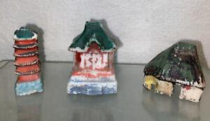 Vtg 3pc 40's Japan Bisque Oriental Houses Hut Miniature Aquarium Decor figurine