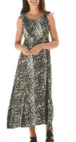UK Sizes 8 - 32 eu 36-60 Ladies Brown Beige Gold Lined Empire Sleeveless Dress