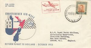 New Zealand 1953 KLM Christchurch Air Race To Holland Cover Post History JK4342