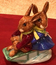 Vintage 1970's Royal Doulton England Bunnykins on a Sleigh Ride Figurine