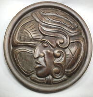 "Vintage Wood Hand Carved Hecho A Mano Aztec Mayan Plaque 13"" Plate Decorative"
