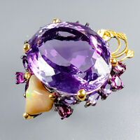 Handmade35ct+ Natural Amethyst 925 Sterling Silver Ring Size 8.5/R125664