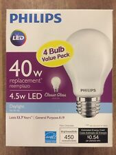 (8 BULBS) LED Light Bulb 40W Equivalent Daylight Classic Glass A19 Energy Star