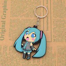 Japan Anime Hatsune Miku Dangle Blue Keychain Key Bag Car Ring Pendant Rubber