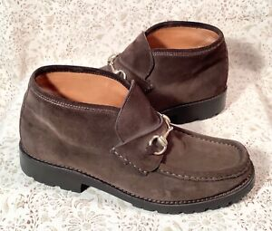 Vintage Gucci Brown Suede Horsebit Lug Sole Ankle Boots Loafers Mens sz 42 E