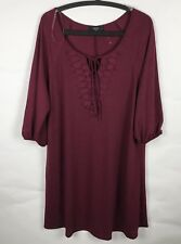 Naif Womens Dress Size 1X Burgundy Knee High Dress 3/4 Sleeve Brand New