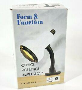Vintage Clip Lamp Light Form & Function CLC-400 White w/ LED Bulb