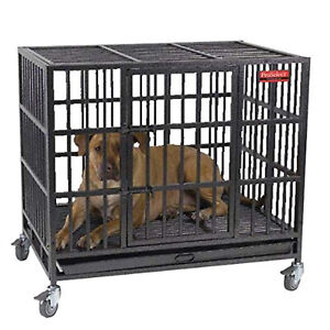 ProSelect Empire Steel Cage Crate for Large Dogs with Tray and Wheels, Black
