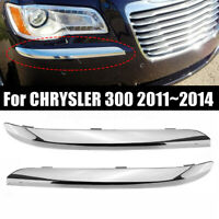 1 Pair L&R Front Bumper Molding Chrome Trim ABS For CHRYSLER 300 2011~2014