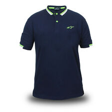 Genuine Alpinestars Motorcycle Motorcross Bike Navy Blue Mens Polo Tee T-Shirt