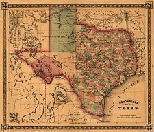 Early of Texas Historic Map, 1866 Vintage Old Map Giclee Canvas Print 40X34