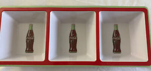 NWT Coca Cola 3 Section Tray Sneaks Serving Dish White/ Red Melamine