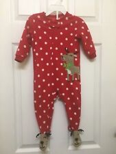 Carter's red & white polka dot sleep/play 1 pc footed zippered pj w reindeer 12M