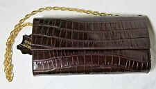 Red Maroon Crocodile Leather Clutch Shoulder Bag Bloomingdales Chain Pockets