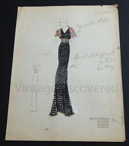 1930's Vintage Fashion Design Original Art Color Drawing Schiaparelli Design
