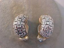 Hoops 2 Tone Earrings Clip Estate Costume Joan Rivers Woven J