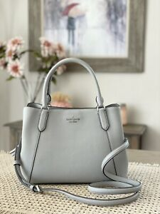 KATE SPADE JACKSON MEDIUM SATCHEL TRIPLE COMPARTMENT SHOULDER BAG GREY LEATHER