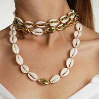 Bohemian Sea Shell Beaded Pendant Bracelet Choker Necklace Beach Jewelry Set