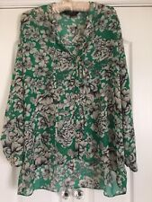 Dorothy Perkins ☆ Ladies Green Long Sleeve Floral Top Blouse Shirt - Size 16