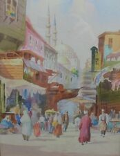 Fine Signed Italian Art Deco Orientalist Watercolor  c. 1920  Arab Village