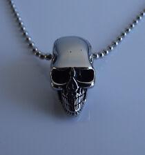 SOLID STEEL SKULL SILVER NECKLACE Pendant Biker Rocker Gothic