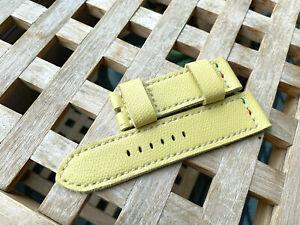 26 mm handmade , leather watch strap.Saffiano leather .Vanila .For Panerai .