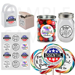 """Essential Workers Thank You Stickers 2.5"""" Round DIY Party Favor Labels- 12 pc"""