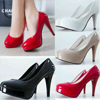 Fad Women Patent Leather Round Peep Toe Stiletto High Heels Pumps Platform Shoes