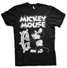 Mickey Mouse Steamboat Willie Official Disney Minnie Mini Black Mens T-shirt